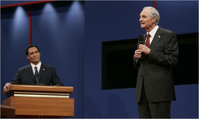 """Jimmy Smits, left, as the Democratic presidential nominee, debating Alan Alda, as his Republican opponent, in the final season of the NBC series """"The West Wing."""""""