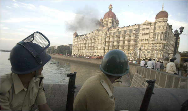Terrorist attacks in Mumbai, India.