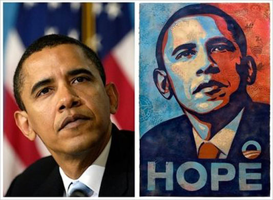 "The Associated Press is alleging copyright infringement against Shepard Fairey for his use of Mannie Garcia's photo (left) in creating his ""Hope"" poster (right). AP"