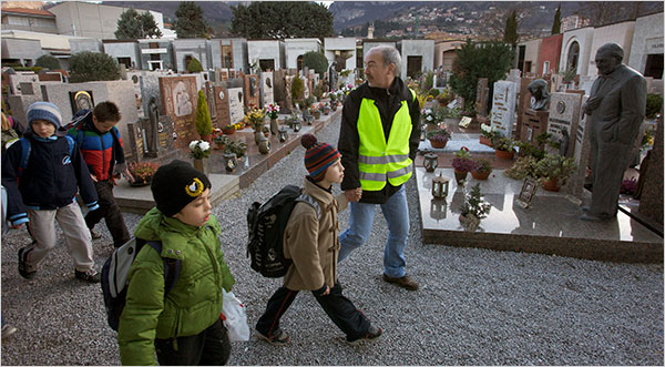 Italian children walking via piedibus. Photo courtesy of the New York Times