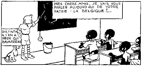 Tintin teaches the natives about the Belgian colonizers