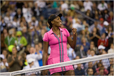 Venus Williams celebrated after winning her match against Vera Dushevina at the U.S. Open on Monday.