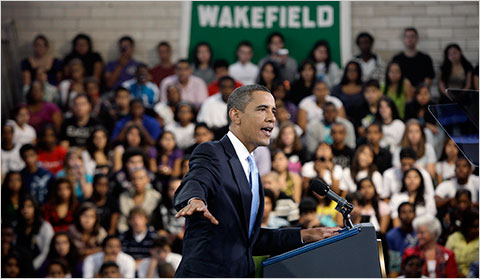 President Barack Obama spoke to students at Wakefield High School