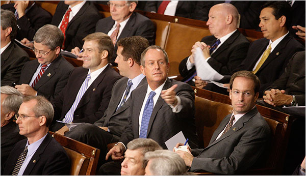 South Carolina Rep. Joe Wilson at the presidents speech - New York Times photo by Doug Mills