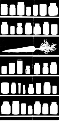 New York Times drawing of an open cabinet with several shelves, some with pill bottles, others with carrots