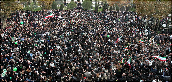 Iranian students flooded the streets and campus today, December 7th, 2009. See the videos below for live coverage.