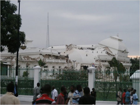 An image uploaded to the Web on Tuesday by a Twitter user who said it showed the collapsed presidential palace in Haiti's capital after an earthquake struck.