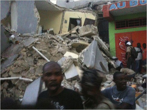 An image of the destruction caused by Tuesday's earthquake in Haiti posted on the Web site of Radio Tele Ginen in Port-au-Prince.