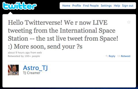 Tweet from space