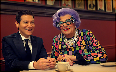 "Michael Feinstein and Dame Edna at Sardi's. The two are co-starring in the Broadway show ""All About Me."""