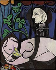 """Picasso's 1932 painting """"Nu au Plateau de Sculpteur (Nude, Green Leaves and Bust)."""