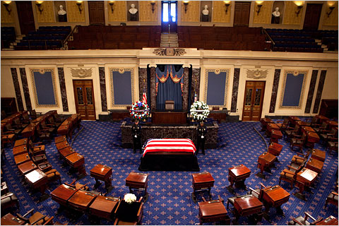 The coffin of Senator Robert C. Byrd lay in repose in U.S. Capitol  on Thursday.