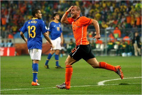 Wesley Sneijder of the Netherlands celebrated after scoring the second goal. The Netherlands went on to a 2-1 victory over Brazil.