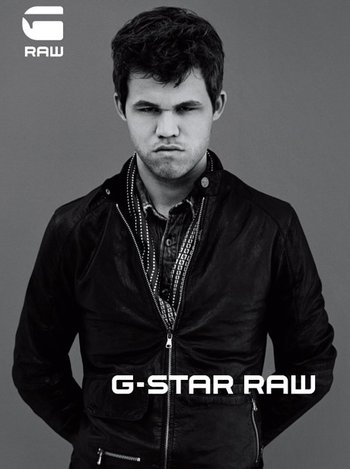 Magnus Carlsen in one of the pictures for the G-Star Raw advertising campaign. Photo: Anton Cobijn/G-star