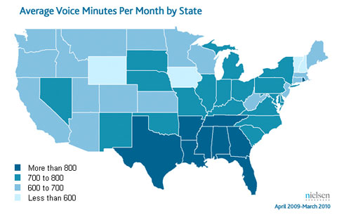 location of most cell phone talk time