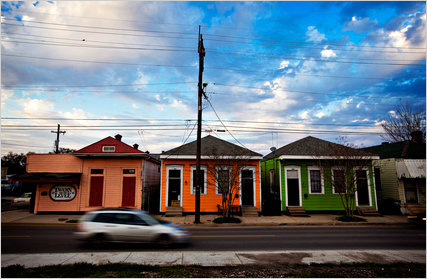 Houses along the levee in the Bywater neighborhood of New Orleans.