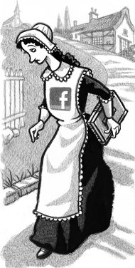 image: Hester Prynne with facebook logo instead of scarlet A (from NYT)