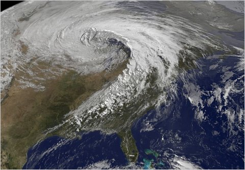 A satellite image of a storm system that wreaked havoc in parts of the Midwest. (NY Times/NASA)