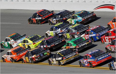 Cars running four-wide Sunday at Talladega Superspeedway, where there were 87 lead changes.