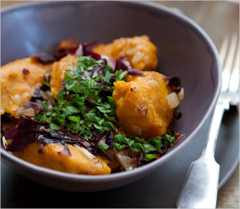 Pumpkin Dumplings with Radicchio