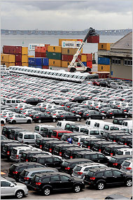 Cars at the port in Rio de Janeiro. Last year, Brazil's economy grew 7.5 percent, attracting the interest of hedge funds.