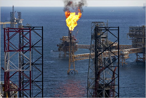 An offshore oil drilling platform in the Ku-Maloob-Zaap field in the Gulf of Mexico, the country's biggest oil project.