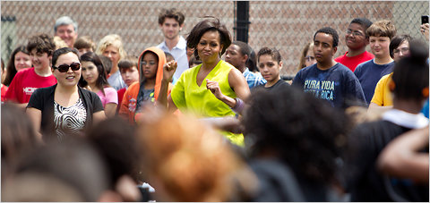 Michelle Obama danced with students at Alice Deal Middle School in Washington on Tuesday afternoon.