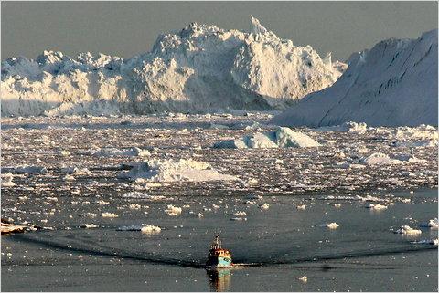 Melting ice on the western coast of Greenland.