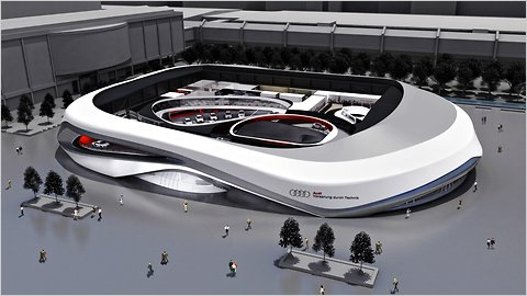 A rendering of the Audi display, which will be constructed for the Frankfurt auto show, then disassembled.