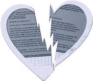 Broken heart Kindle e-reader.