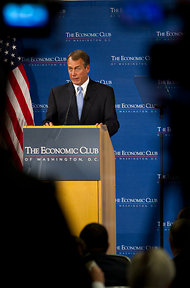 House Speaker John A. Boehner spoke to the Economic Club of Washington about the Republicans' approach to creating jobs on Thursday.