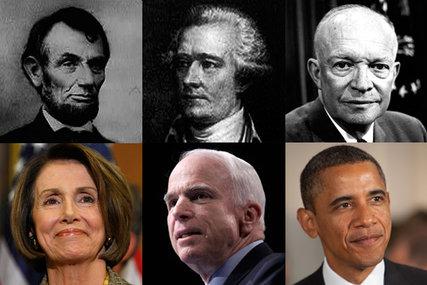 Clockwise from top left: Abraham Lincoln, Alexander Hamilton, Dwight Eisenhower, Barack Obama, John McCain and Nancy Pelosi.