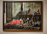 """Bob Dylan's painting """"Opium,"""" on view at the Gagosian Gallery in Manhattan."""