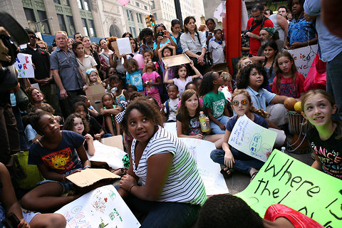 Children from Central Park East 1 and 2 schools join the Occupy Wall Street demonstrations in Zuccotti Park.