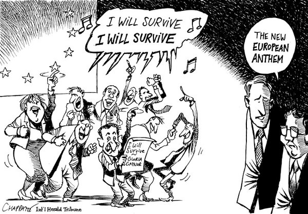 The overvaluation of the Euro is the one big reason why EU economies are suffering such a deep recession. |  Cartoon by Patrick Chappatte  spoofing Gloria Gaynor's pop-song, titled 'I will survive'.|  Published: October 31, 2011  |  Source and courtesy - nytimes.com.  |  Click for larger image.