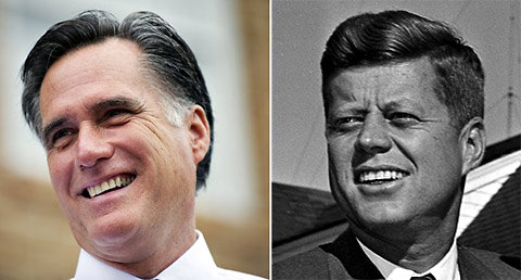 Hair has been the subject of political debate for Republican Presidential candidate Mitt Romney, left, just as it was for John F. Kennedy, right.