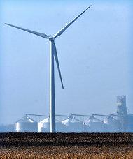 A wind turbine near Paxton, Ill.