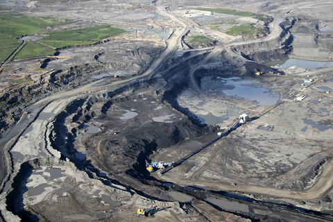 Excavations of oil sands pits north of Fort McMurray in Alberta.