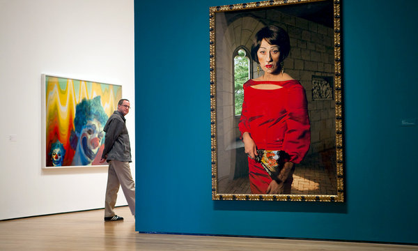 "by Richard Perry/The New York Times - Cindy Sherman  ""Untitled #470"" (2008) in a gallery of Ms. Sherman's society and clown portraits in the Museum of Modern Art's career survey."