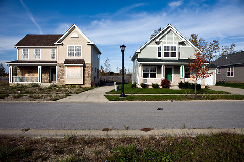 In a development in the Cleveland suburb of Warrensville Heights, seven of 14 homes were in foreclosure and boarded up last fall.