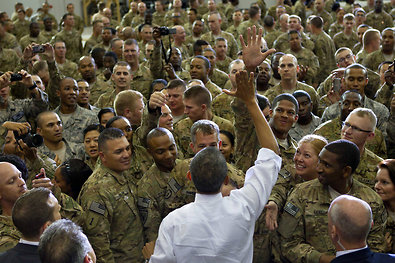 President Obama got a high five from a member of the U.S. military at Bagram Air Force Base in Afghanistan on Tuesday.