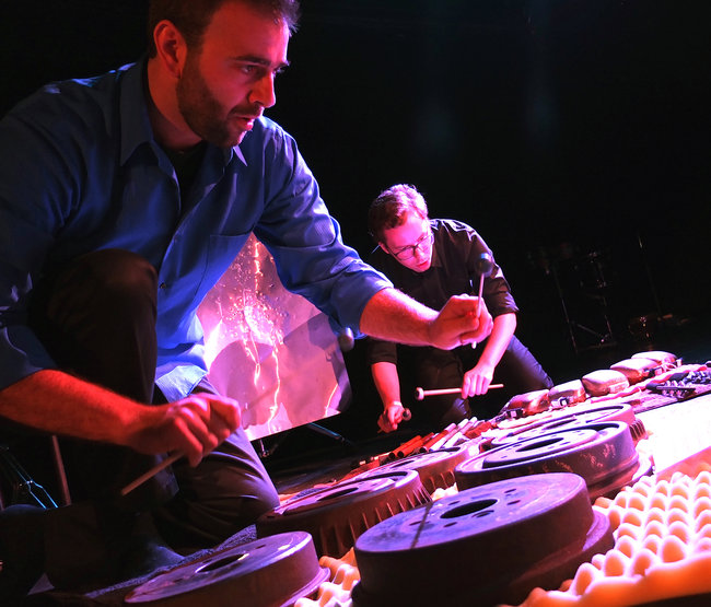Iktus Percussion Chris Graham, foreground, and Cory Bracken of the ensemble, which performed at Le Poisson Rouge on Sunday evening.