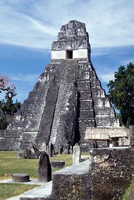 The Temple of the Great Jaguar at Tikal.