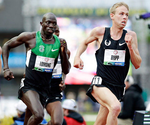 Lopez Lomong, left, and Galen Rupp running in the finals of the 5,000 meters at the Olympic trials in Eugene, Ore., last month.