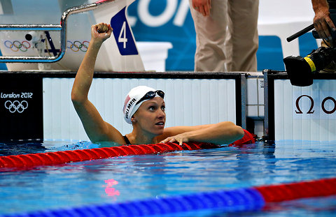 Dana Vollmer after setting a record in the 100-meter butterfly in the Olympic preliminaries on Saturday.