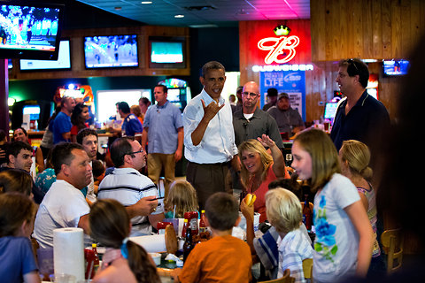 "During a surprise visit to Gators Dockside bar in Orlando, Fla., President Obama was introduced to a boy who was born in Hawaii. ""You have a birth certificate?"" the president asked the child."