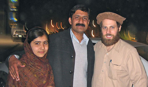 The author, right, with Malala Yousafzai and her father, Ziauddin.