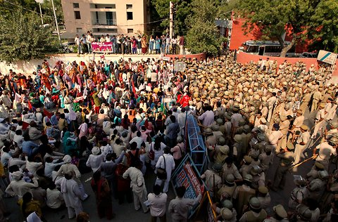 A protest in Rohtak on Monday condemning the rising incidents of rape and violence against women in Haryana.