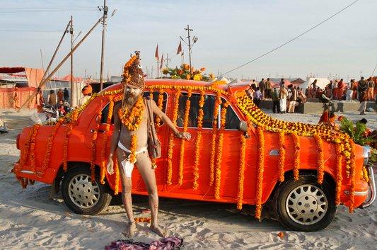 A naga sadhu, or naked holy man, in Allahabad, Uttar Pradesh. Millions of Hindu pilgrims are expected to congregate at Sangam, the confluence of the rivers Ganga and Yamuna, at Allahabad, next month, for the Kumbh Mela.