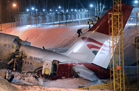 The crash occurred amid light snow in Moscow.